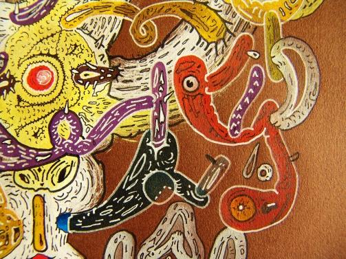 """DETALLE DE OBRA. """"LA ESPACIALIDAD TURNIA MULTIPLICA LA SINGULARIDAD DE LOS PLANETAS"""". Acrílico + Marcador permanente al oleo y a tinta sobre papel. 32 x 32 cm. 2011"""