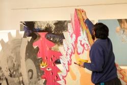 """PROCESO DE OBRA. """"ARBOL PLUMAS DELIRANTES"""". Esmalte al agua + acrílico sobre árbol diseñado. Obra realizada para exposición en Mall Plaza Calama. 2011"""