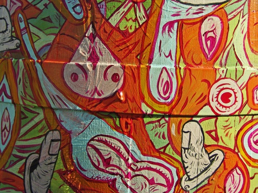 """DETALLE DE OBRA """"Exposición Vinart"""". Barrica intervenida con acrílico. Obra para Viña Castillo de Molina. 2011"""