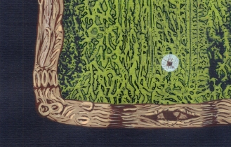 """DETALLE DE OBRA. """"ESPIRITU DE HUMEDAD DE DESEOS, CON PIEL DE CORTEZA, TALLADA EN FANTASIAS INVERTIDAS"""". Acrílico + Tinta China + marcador sobre papel negro. 12 X 17 cm. 2012"""