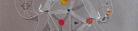 """DETALLE DE OBRA. """"MINERALES LIVIANOS EN GRAVEDAD ESPACIAL"""". Acrílico + marcador permanente sobre papel. 32,5 x 49,5 cm. 2012"""
