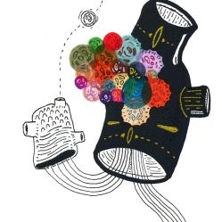 """SERIE DE NARRATIVAS INFLABLES CON MAGIA INFLAMABLES PARA EL ESPIRITU"". Marcadores permanentes + Acrílico sobre cartón. 10 x 15 cm. 2012"