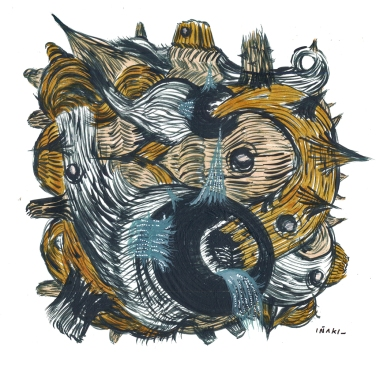 """""""SERIE TRANSFORMACIONES CRUCIALES EN LA MADRIGUERA"""". Acrílico + marcador permanente sobre cartón espuma. 12 x 12 cm. 2012"""