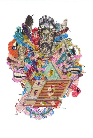 """""""SERIE LA INVERTIDA POSICION DE LA GALAXIA ENTRE CUERPOS INVISIBLES Y ORGANOS VISIBLE MENTE SENSIBLES"""". Acrílico + Marcadores permanente + Tinta china + Collage, sobre cartón espuma. 21 x 31 cm. 2012"""