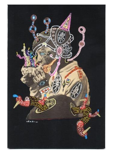 """""""SERIE LA ELECTRICA VIDA DE LOS EUFORIA GIF PATTERNS"""". Acrílico + lápiz + marcador, interviniendo imagen sobre cartón negro. 12 x 18 cm. 2012"""