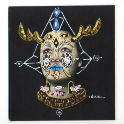 """""""SERIE LA ELECTRICA VIDA DE LOS EUFORIA GIF PATTERNS"""". Acrílico + lápiz + marcador, interviniendo imagen sobre cartón negro. 9,5 x 10 cm. 2012"""