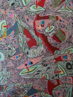 """DETALLE DE OBRA. """"LA PEQUEÑA PARTICULA DE UN LUGAR, REPLETO DE CONOCIMIENTOS LEGITIMOS, RELEVANTES Y MAGICOS"""". Acrílico + Esmalte al agua sobre tela. 70 x 50 cm. 2009 - 2012"""