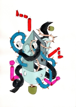 """""""SERIE JUEGOS CARACTERES Y OBSECIONES"""". Acrílico + Tinta China sobre papel. 21 X 29,7 cm. 2013"""