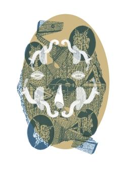 """""""HISTORIAS CONJUNTAS CONJUGADAS EN CONJUROS"""". Composición digital impresa en Papel Aquarelle, libre de acido, 400 grs. 30 x 44 cm. 2013"""