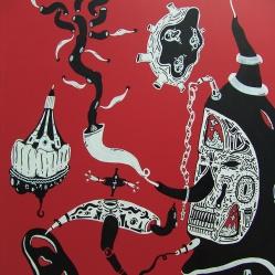 """DETALLE DE OBRA. """"DIPTICO DIMENSIONES Y CONCEPTOS MUNDIALES SOBRE LO IMPOSIBLE"""". Esmalte al agua + Acrílico sobre madera. 1 x 1 mt. 2013"""