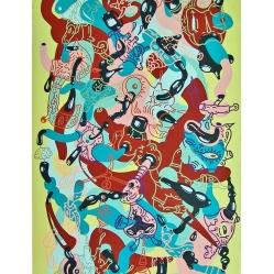 """""""SERIE PUERTAS DINAMICAS PARA LABERINTOS CON SALIDA CIRCULAR"""". Esmalte al agua + acrílico sobre madera. 60 x 175 cm. 2013"""