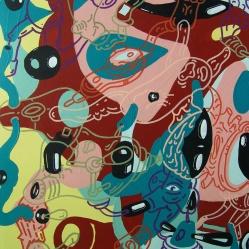 """DETALLE DE OBRA. """"SERIE PUERTAS DINAMICAS PARA LABERINTOS CON SALIDA CIRCULAR"""". Esmalte al agua + acrílico sobre madera. 60 x 175 cm. 2013"""