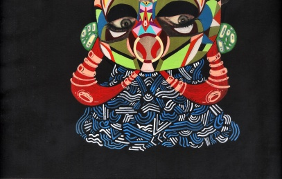 "DETALLE DE OBRA. ""SRTA. CLANDESTINA INVERSA REVERSA"". Acrílico + collage sobre cartón. 30 x 30 cm. 2013"