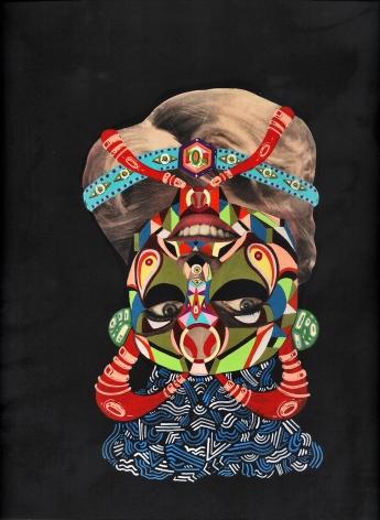 """SRTA. CLANDESTINA INVERSA REVERSA"". Acrílico + collage sobre cartón. 30 x 30 cm. 2013"