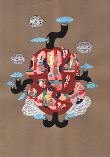 """""""SEXTAS DE RECREOS COMPUESTAS DE BASURAS ESPACIALES"""". Acrílico + Tinta China sobre papel. 21 x 29 cm. 2013"""