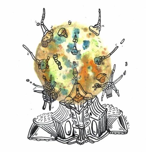 """""""SERIE 3 PEQUEÑAS EXPLOSIONES DE VERBOS CRUJIENTES"""". Tinta china + Acrílico sobre papel. 9,5 x 9,3 cm. 2013"""