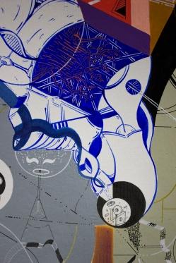 """Detalle de Obra. """"Jugando, ensayo la interminable sensación de felicidad que es el cosmos de un abrazo"""". Acrílico + spray + tinta china + marcador permanente sobre papel. 35 x 49 cm. 2017"""