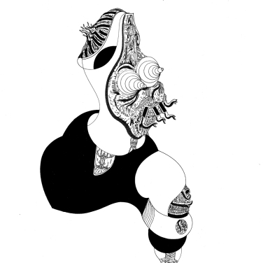 """""""Mientras la serpiente cambiaba, la poesía a un pie caminaba"""". Tinta china + marcador permanente sobre papel. 22,8 x 30,6 cm. 2017"""