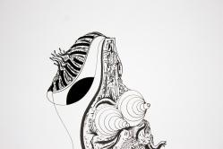 """Detalle de Obra. """"Mientras la serpiente cambiaba, la poesía a un pie caminaba"""". Tinta china + marcador permanente sobre papel. 22,8 x 30,6 cm. 2017"""