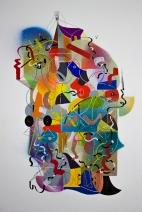 """""""La alegre física del tiempo, explosa la química de las identidades, gravitando en el espacio cuerpo"""". Acrílico (spray y pincel) + Tinta china + marcador permanente sobre papel. 24,5 x 35 cm. 2017"""