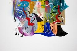 """Detalle de Obra. """"La alegre física del tiempo, explosa la química de las identidades, gravitando en el espacio cuerpo"""". Acrílico (spray y pincel) + Tinta china + marcador permanente sobre papel. 24,5 x 35 cm. 2017"""