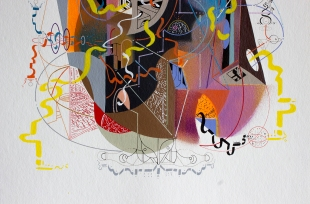 """DETALLE DE OBRA / Serie: Por aquí pasaron las formas, transcribiendo cada sentimiento que recolectaban, para volver a ser un punto invisible, dentro del expandir del universo"""" Acrílico (spray y pincel) + Tinta china + marcador permanente sobre papel Bamboo Hahnemuhle de 265 gr 25 x 35 cm 2017"""
