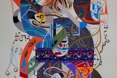"""Detalle de la Obra parte de la Serie """"La urdimbre de las relaciones, transportada por el viento, trama el silencio que fortalecerá el tejido de los sueños"""". Acrílico (spray, pincel, pluma) + tinta china + marcador permanente sobre papel. 20,9 x 29,7 cm. 2018"""