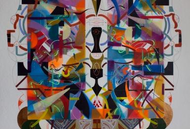 """Detalle de la obra, parte del Tríptico """"El impacto de las emociones, genera fisuras en la conciencia, dilucidando el infinito multiverso de la sensibilidad ajena"""". Técnica: Acrílico (Spray, pincel y pluma), marcador permanente y tinta acrílica sobre papel Bamboo Hahnemuhle de 265 gr. 34,9 x 49,9 cm. 2018"""