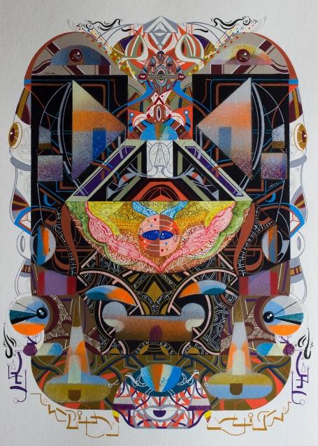 """Obra parte de la serie """"EN EL ENREDO DE LAS RELACIONES, SE DESENREDO LA NARRACIÓN DE LOS GÉNEROS, ASÍ, EN SU AUTONOMÍA UNIVERSAL, PUDIERON CONTEMPLAR LA INMENSIDAD DE LA VIDA"""" Técnica: Acrílico (Spray, pincel y pluma), marcador permanente y tinta acrílica sobre papel Bamboo Hahnemuhle de 265 gr. 25 x 35 cm. 2018."""