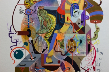 """Detalle de obra, parte de la serie """"EN EL ENREDO DE LAS RELACIONES, SE DESENREDO LA NARRACIÓN DE LOS GÉNEROS, ASÍ, EN SU AUTONOMÍA UNIVERSAL, PUDIERON CONTEMPLAR LA INMENSIDAD DE LA VIDA"""" Técnica: Acrílico (Spray, pincel y pluma), marcador permanente y tinta acrílica sobre papel Bamboo Hahnemuhle de 265 gr. 25 x 35 cm. 2018."""