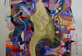 """Detalle de obra, parte de la serie """"EN EL ENREDO DE LAS RELACIONES, SE DESENREDO LA NARRACIÓN DE LOS GÉNEROS, ASÍ, EN SU AUTONOMÍA UNIVERSAL, PUDIERON CONTEMPLAR LA INMENSIDAD DE LA VIDA"""" Técnica: Acrílico (Spray, pincel y pluma), marcador permanente y tinta acrílica sobre papel. 28,3 x 38 cm. 2018."""