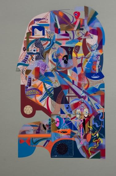 """Obra parte de la serie """"TRAZARON UN CUENTO INTANGIBLE, SIN FRONTERAS, DE TAL MANERA, QUE SOLO EL INFINITO, LO PUEDE CONTAR"""" Técnica: Impresión digital, Acrílico (Spray, pincel y pluma), marcador permanente sobre papel Photo Rag ultra smooth de 305 gr. 30 x 45 cm. 2018."""