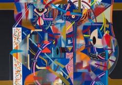 """Detalle de obra, parte de la serie """"TRAZARON UN CUENTO INTANGIBLE, SIN FRONTERAS, DE TAL MANERA, QUE SOLO EL INFINITO, LO PUEDE CONTAR"""". Técnica: Impresión digital, Acrílico (Spray, pincel y pluma), marcador permanente sobre papel Photo Rag ultra smooth de 305 gr. 30 x 45 cm. 2018."""