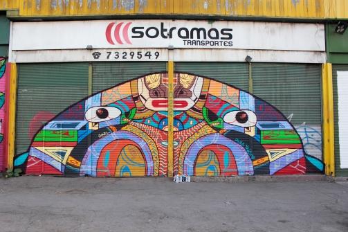 """OBRA MURAL PARA FESTIVAL RECREO"". Spray sobre cortina de negocio. (La vega mayorista). La Romana Lastra 966. 10 x 4 MT. 2019"