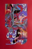 """ALFABETO ORAL VISUAL"". Acrílico (pigmento, spray) + gouache sobre papel. 21,5 x 32,9 cm. 2019"