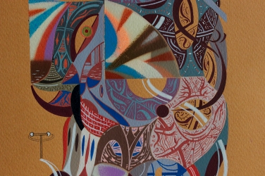 """Detalle de obra. """"ALFABETO ORAL VISUAL"""". Acrílico (pigmento, spray) + gouache sobre papel. 21,5 x 32,9 cm. 2019"""