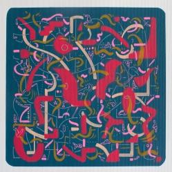 """""""ARTICULACÍON DE EMOCIONES ECUACIONALES"""". 24,5 x 24,5 cm. Acrílico sobre papel. 2019"""