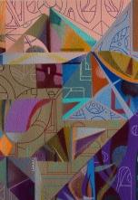 """Detalle de obra. """"LA INFINITA ESPACIALIDAD DE UNA ARQUITECTURA DANZANTE"""". 30 x 30 cm. Acrílico sobre tela. 2019"""