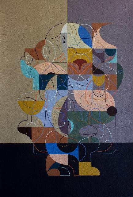 """MOMIA DE EQUECO INMATERIAL"". 70 x 50 cm. Acrílico + gouache sobre tela. 2019"