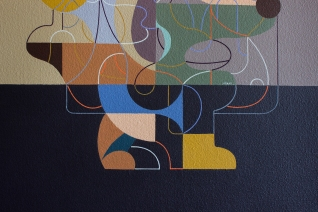 "Detalle de obra. ""MOMIA DE EQUECO INMATERIAL"". 70 x 50 cm. Acrílico + gouache sobre tela. 2019"