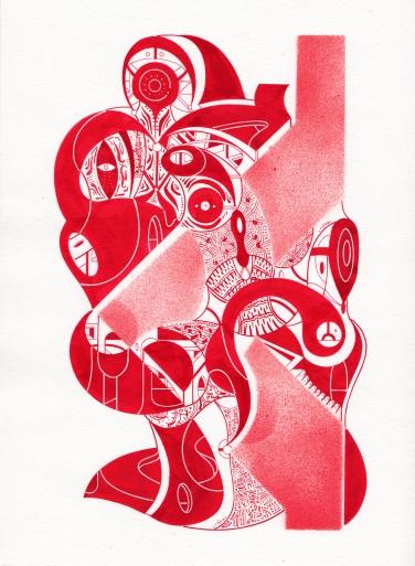 """DÍPTICO """"GUARDIANES DEL CONOCIMIENTO INVERSO COMPLEJO"""" Acrílico (spray + tinta) sobre papel Fabriano. 21 x 29,7 cm. 2019"""