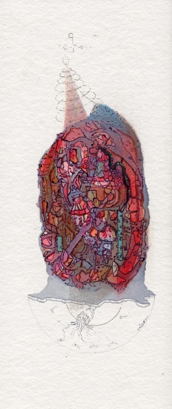 """Serie """"COSMOS ÍNTEGROS DE UNA FUTURA SOCIEDAD"""". Acuarela + acrílico sobre papel Bamboo Hahnemuhle de 265 gr. 10,5 x 25 cm. 2019"""