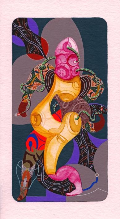 Danzante de las comparsas cósmicas. Acrílico + gouache + acuarela obre papel Bamboo Hahnemuhle de 265 gr. 14 x 25 cm. 2020