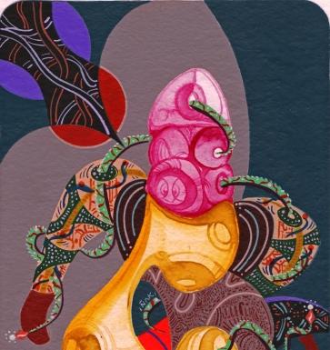 Detalle de obra. Danzante de las comparsas cósmicas. Acrílico + gouache + acuarela obre papel Bamboo Hahnemuhle de 265 gr. 14 x 25 cm. 2020