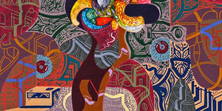 Detalle de obra. EN SUS ESPÍRITUS COBIJABAN EL LATIR ESENCIAL DE MONTAÑAS ANTIGUAS. Acrílico + gouache + acuarela obre papel Bamboo Hahnemuhle de 265 gr. 21 x 21 cm. 2020