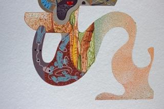 Detalle de obra. TRES GRAFEMAS PARA UN MILLAR DE SONIDOS. Acrílico + gouache + acuarela obre papel Bamboo Hahnemuhle de 265 gr.35 x 25 cm. 2020