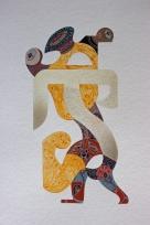 TRES GRAFEMAS PARA UN MILLAR DE SONIDOS. Acrílico + gouache + acuarela obre papel Bamboo Hahnemuhle de 265 gr.35 x 25 cm. 2020