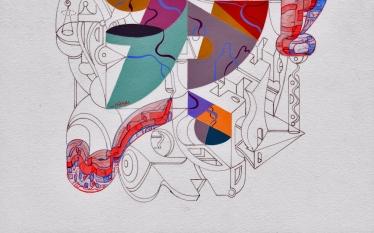 """Detalle de la obra """"El encuentro de lenguas dialogantes sin la necesidad de ser dominante"""". Acrílico, goauche, acuarela y marcador permanente sobre papel Clairefontaine de 250 gr. 21 x 26 cm. 2020"""