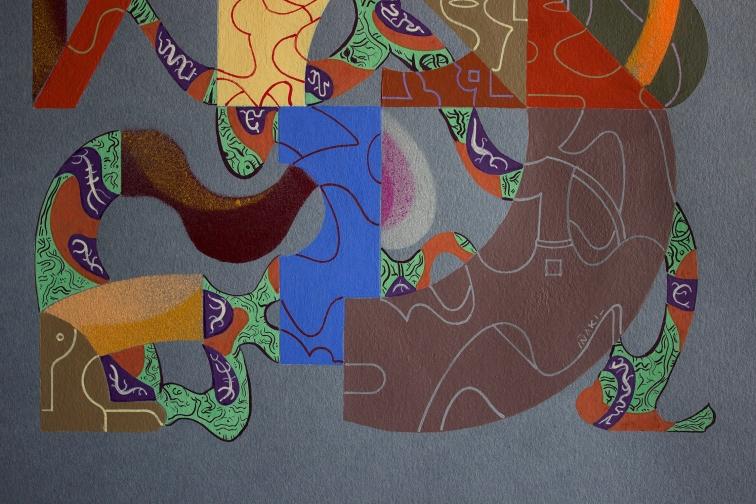 """Detalle de la obra """"Desplegaron múltiples fortalezas y en su interior, organizaron la necesaria belleza"""". Acrílico (pigmento y spray), acuarela, gouache, marcador permanente sobre papel Clairefontaine de 250 gr. 29,5 x 41,8 cm. 2020"""