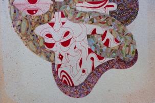 """Detalle de obra. """"VERBO FRONDOSO ESCRITO EN MÚLTIPLES PASAJES DE ARQUEOLOGÍA DESNUDA"""". Acrílico (pigmento y spray) y acuarela sobre papel Bamboo Hahnemuhle de 265 gr. 25 x 35 cm. 2021"""